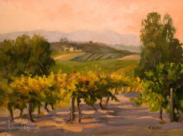 California vineyard oil painting plein air artist karen for Paint and wine temecula