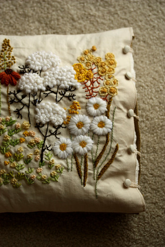 crewel embroidery pillow | by mellow_stuff