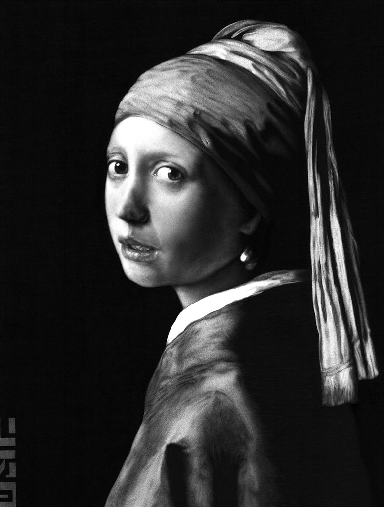 Girl With A Pearl Earring, Biro Drawing  By Jr Mylne Art
