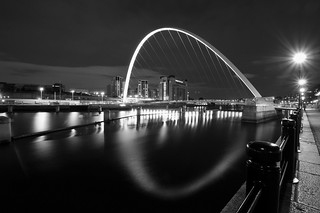 Newcastle Waterscape at night in B&W | by Saad Al-Enezi