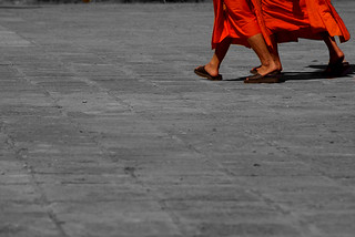 Monks Walking in Luang Prabang | by The Hungry Cyclist
