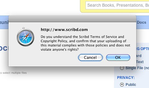 Scribd Terms of Service confirmation box | by tvol