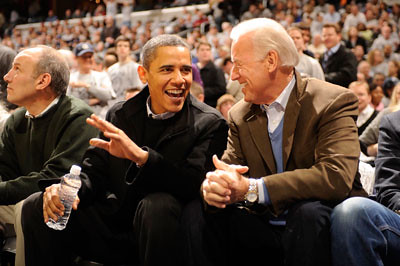 Obama and Biden courtside | by Georgetown University