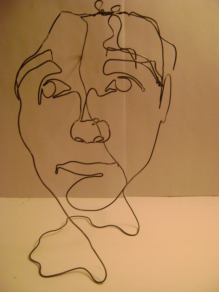 Blind Line Drawing Artists : Wire sculpture of my face from front this