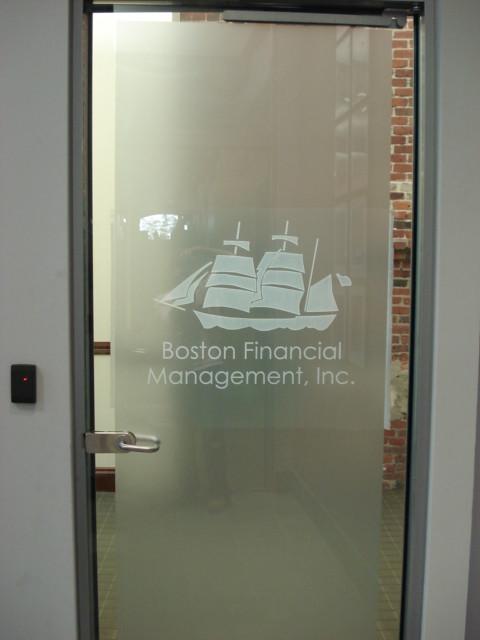 Etch vinyl distraction on glass door with logo graphics for Glass door design jobs