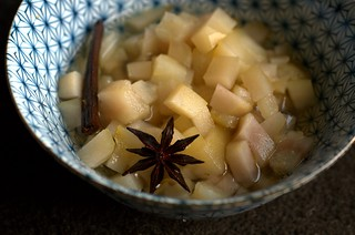poached pear compote in vanilla bean & star anise | by sassyradish