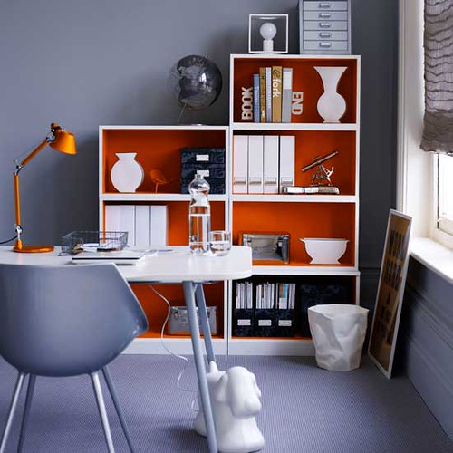 Home Office Decor For Private Impression: Ideas For The Office: Gray Paint + Orange Accents + Playfu