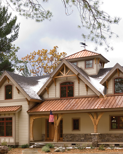 Timber treasure timber frame home exterior porch flickr for Metal roof craftsman home
