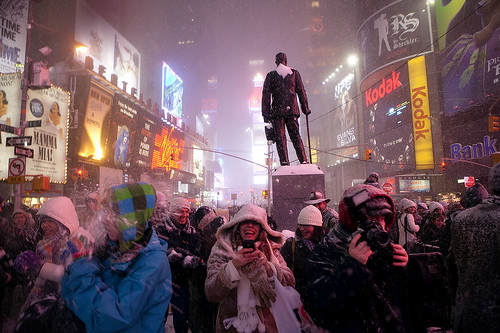 Snowstorm and snowball fight in Times Square, Manhattan, New York (larger size) | by Dan Nguyen @ New York City