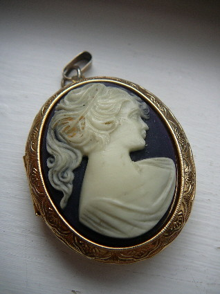 Vintage cameo locket pendant believe this was a perfume lo flickr vintage cameo locket pendant by vyeshi aloadofball
