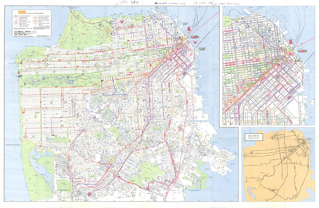 San Francisco Muni Street and Transit Map 1982 Eric Fischer Flickr
