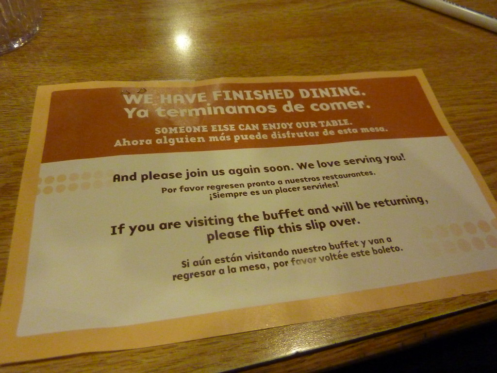 New Hometown Buffet Table Placard Note Hometown Now