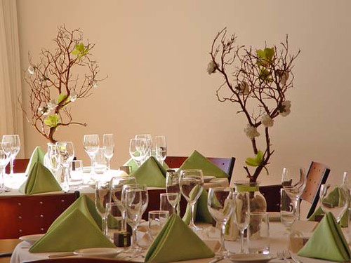 Modern wedding centerpieces are made of