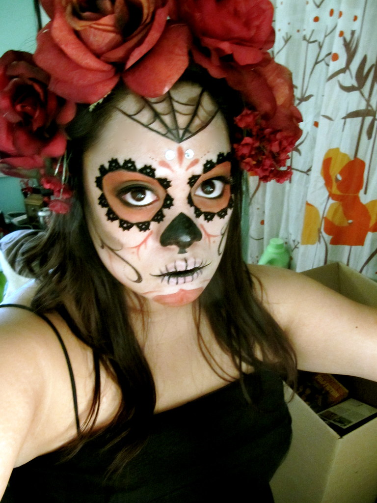 sugar skull hair styles dia de los muertos costume my attempt at testing 2874