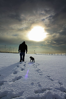 Daddy and Son walking through the Snow. | by Maemae884
