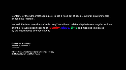 an explanation of ethnomethodology Ethnomethodology's wiki: ethnomethodology is the study of methods people use for understanding and producing the social order in which they live it generally seeks to provide an alternative to mainstream sociological approaches.
