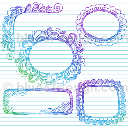 Hand-Drawn Sketchy Notebook Doodle Frame Borders Design El ...