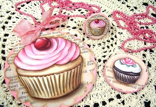 Original Art Jumbo Cupcake pendant, cupcake ring, and cupcake pendant | by holiday_jenny