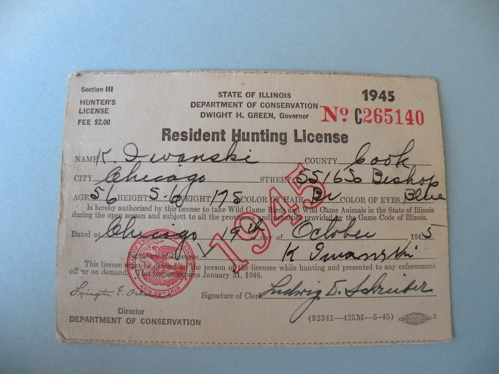 Kostanty gust iwanski 39 s 1945 illinois hunting license for Fishing license illinois