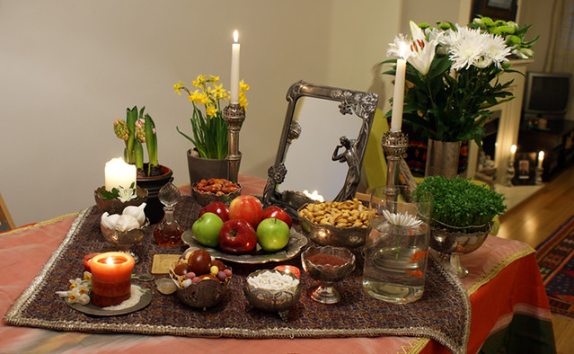 Haft seen table for persian new year in harmony with for Table design for new year
