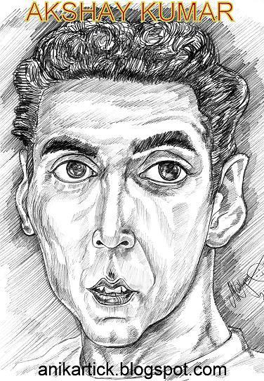 Akshay kumar caricature in my pencil sketch animation artist anikartickchennaitamilnadu