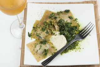 Ravioli with cultured raw nut cheese and fine herb sauce | by Chef Moy