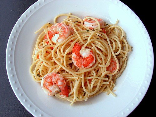Spaghetti with Rosemary Shrimp Scampi | by Tracey's Culinary Adventures