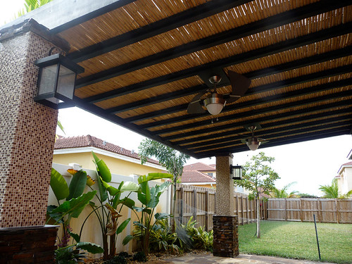 Custom Bamboo Pergola With Built In Ceiling Fans Bamboo