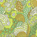 Green, Brown, Yellow & White Pattern Vintage Textile