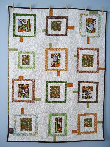 Wonky Zoo Baby Quilt: Front | by Blue is Bleu