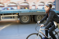 HGV and woman cyclist | by carltonreid
