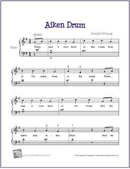 Aiken Drum | Free Sheet Music for Easy Piano | Aiken Drum fo