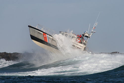 US Coast Guard Life Boat Surf Training
