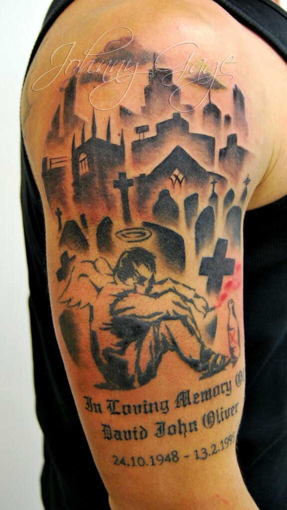 Banksy angel tattoo and background tattooed by johnny at for Shading background tattoo