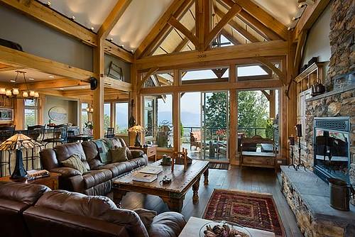 Mountain view timber frame home great room expansive for Timber frame great rooms