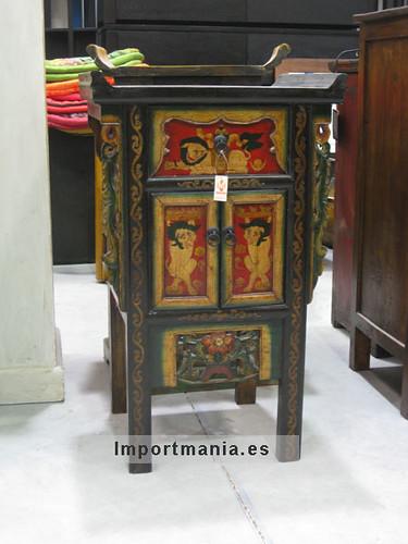 Decoraci n oriental mueble tibetano tallado y pintado a for Muebles tibetanos