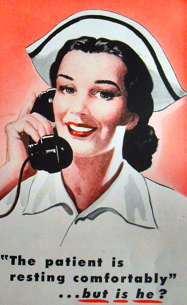 1940s Nurse Illustration Vintage Advertisement Aspirin