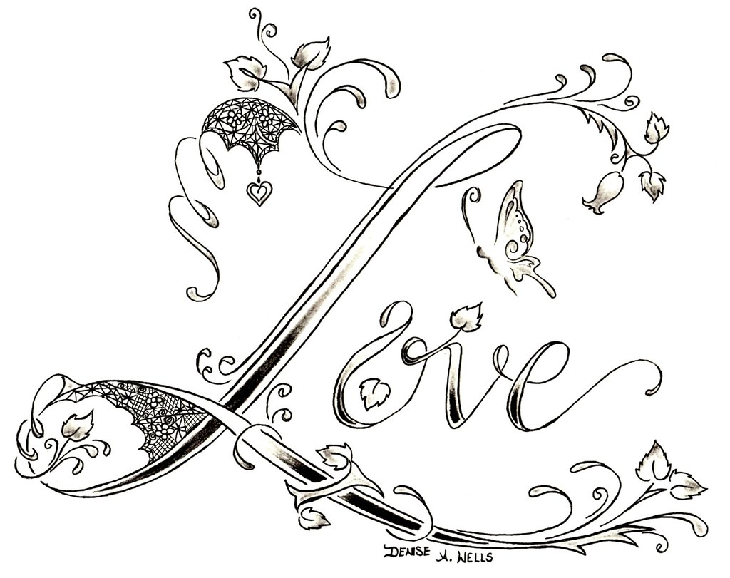 Love lace tattoo design by denise a wells tattoo for One love tattoo designs