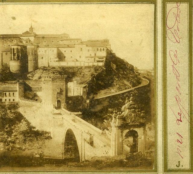 Puente de Alcántara en 1856. Fotografía estereoscópica (detalle) de Joseph Carpentier