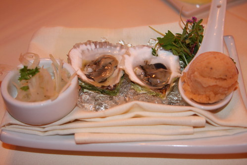 Matunuck Farm oysters on the half shell, citrus-black pepper sorbet, fennel salad | by justinbc