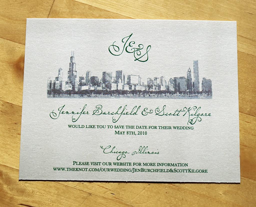 chicago skyline save the date wedding invitation flickr