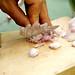slicing shallots