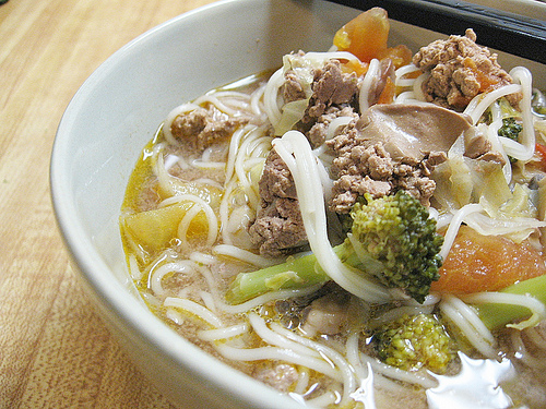 Chicken Livers With Vegetables Noodle Soup | by CinnamonKitchn