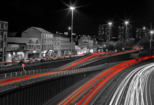 traffic at charing cross,  junction 17,  m8 motorway,  glasgow,  scotland uk, night time, long exposure, motorway traffic, car trails, glasgow architects | by abbozzo