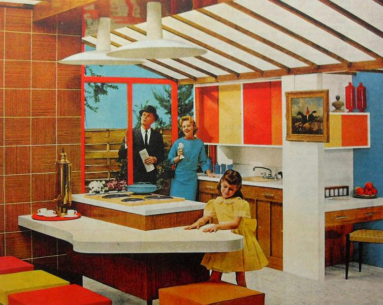 1950s Kitchen Bold Solid Color Vintage Interior Design Pho Flickr