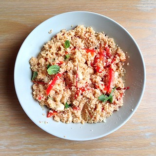 Today's breakfast: couscous with cashew, bell pepper, tomato and mint. #vegan | by Gauravonomics