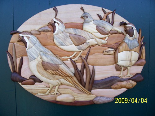 Intarsia Quail Blue stained Pine, Black Walnut, Cherry