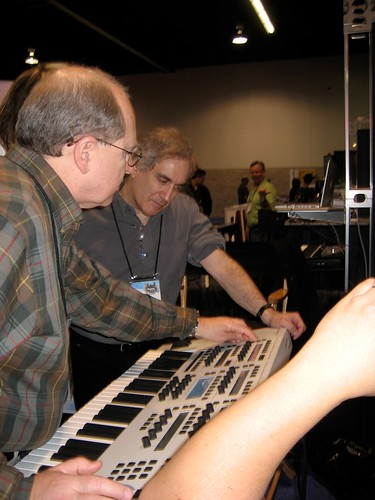 John showing Solaris to Larry Fast | by solaris synth