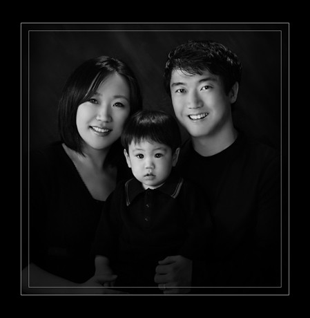 Black and white family portrait by lees photography