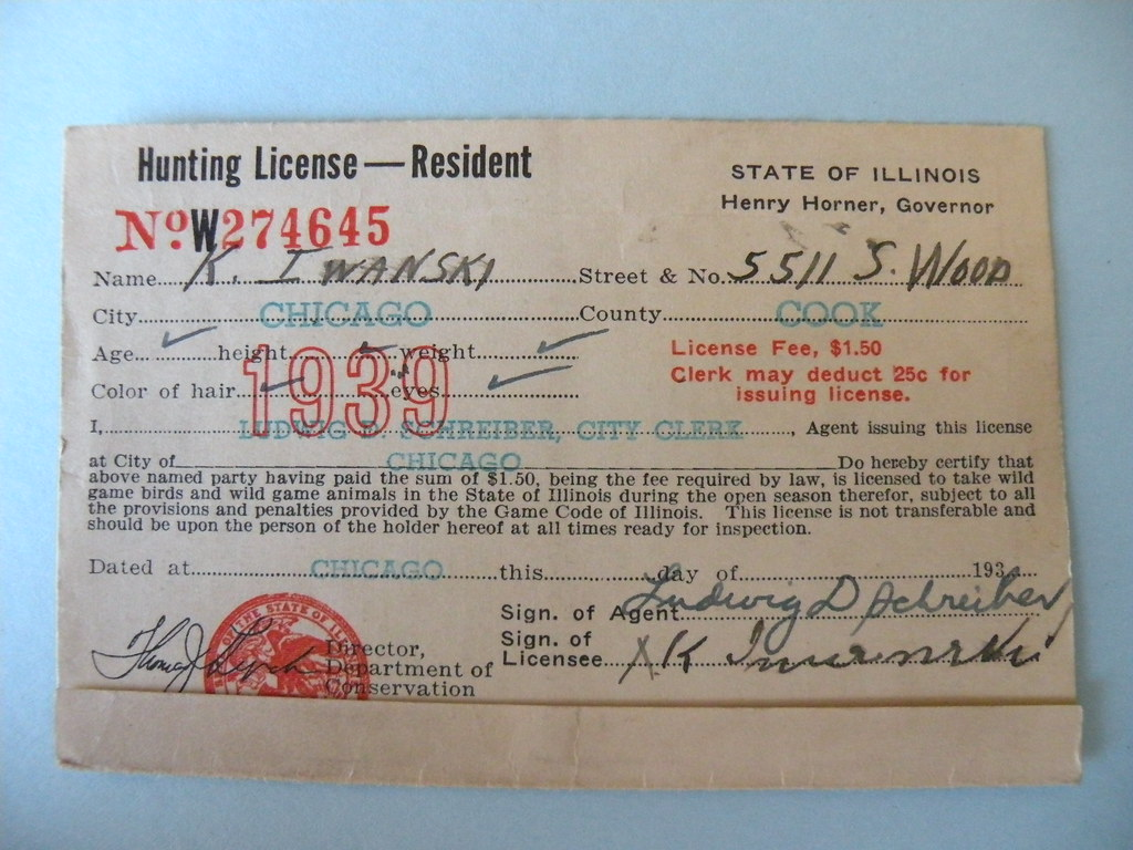 Kostanty gust iwanski 39 s 1939 illinois hunting license for Fishing license illinois